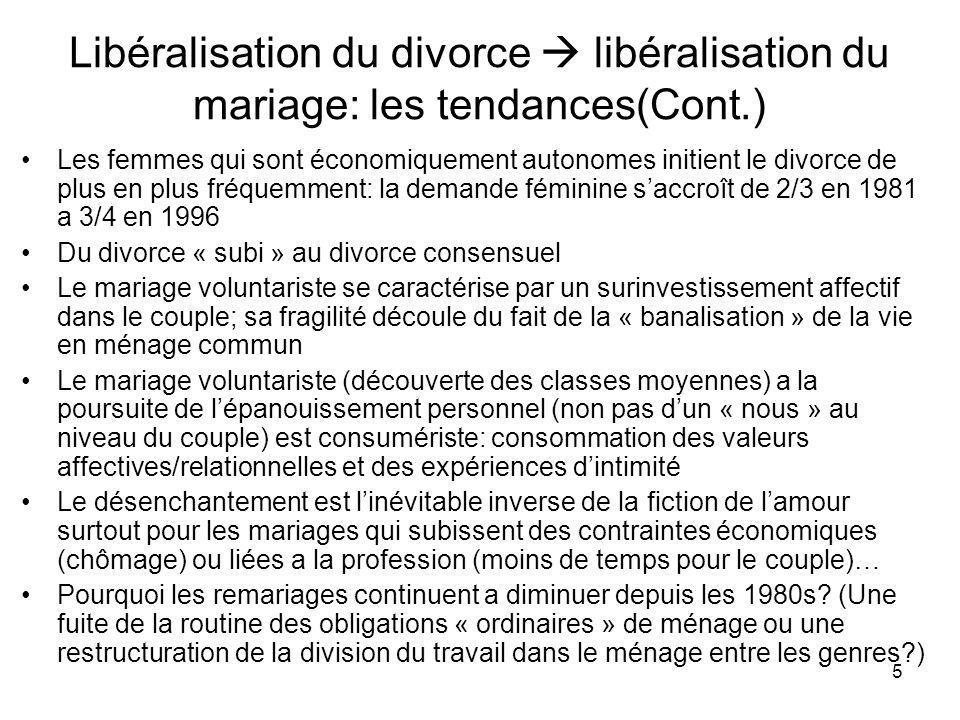 Libéralisation du divorce  libéralisation du mariage: les tendances(Cont.)