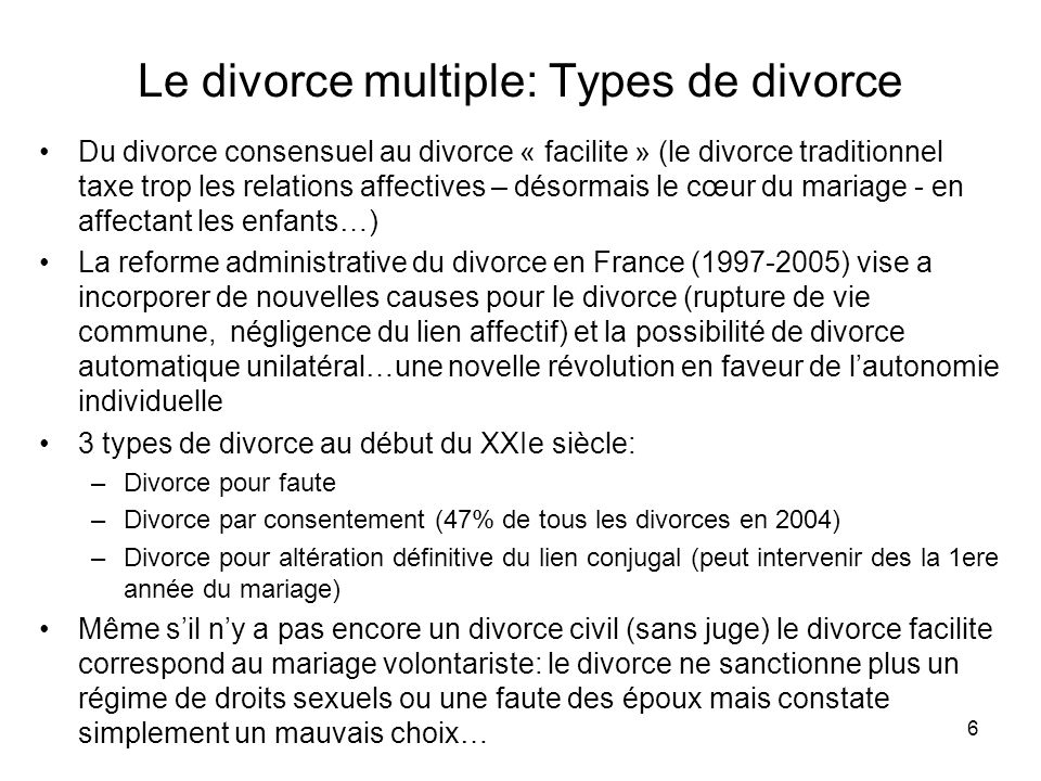 Le divorce multiple: Types de divorce