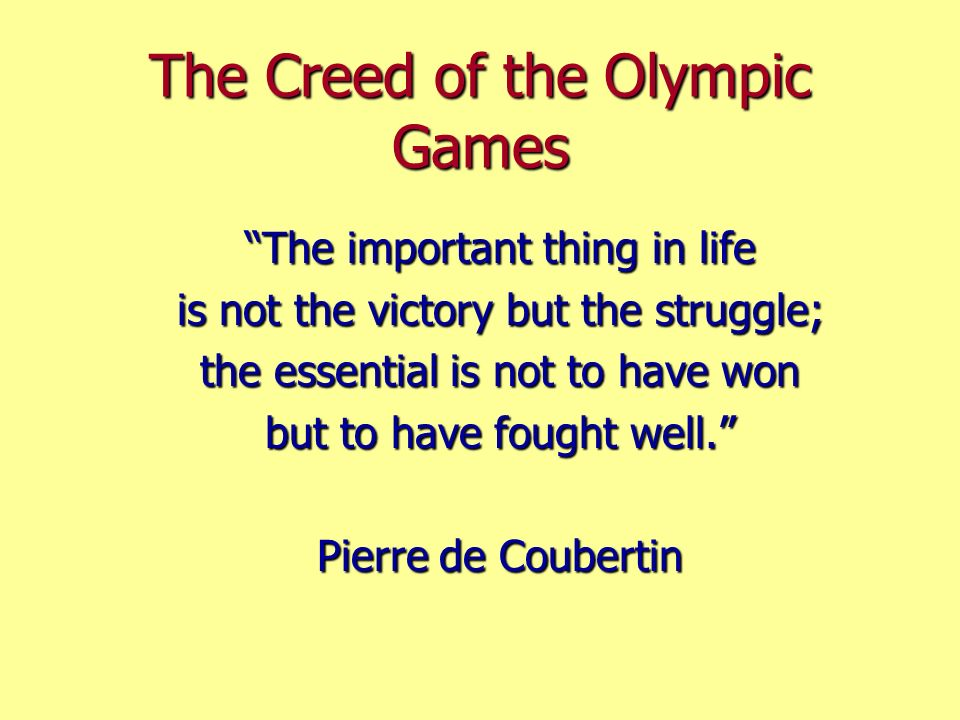 The Creed of the Olympic Games