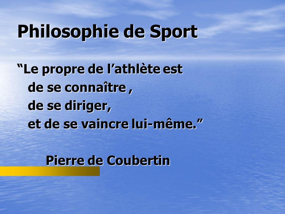 Philosophie de Sport Le propre de l'athlète est de se connaître ,