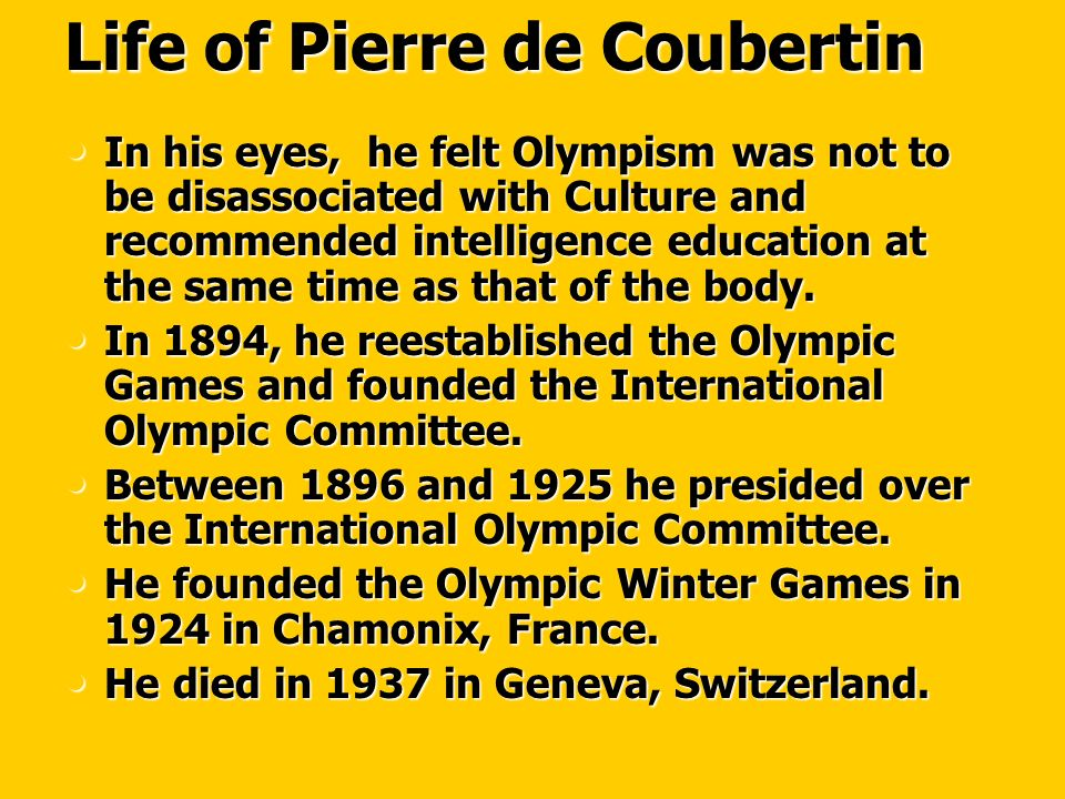 Life of Pierre de Coubertin