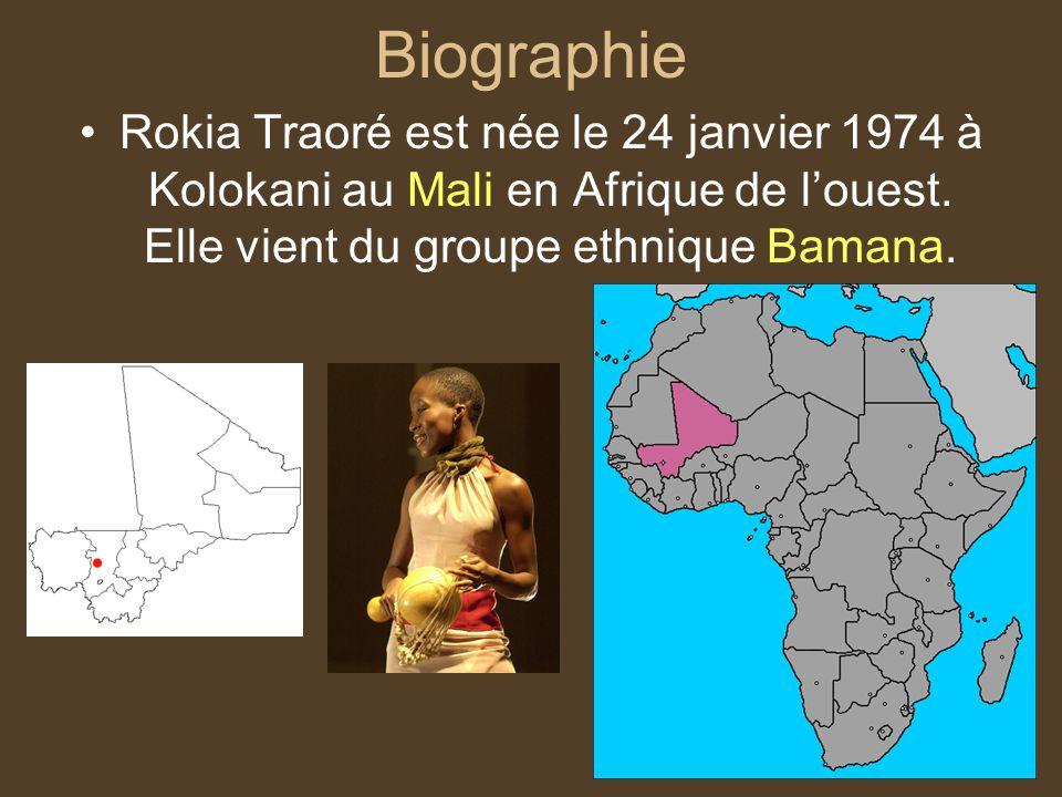 Biographie Rokia Traoré est née le 24 janvier 1974 à Kolokani au Mali en Afrique de l'ouest.