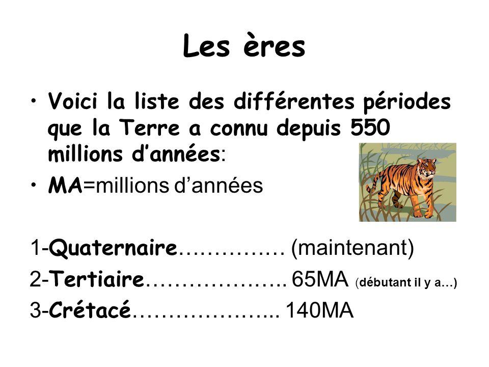 Les èresVoici la liste des différentes périodes que la Terre a connu depuis 550 millions d'années: MA=millions d'années.