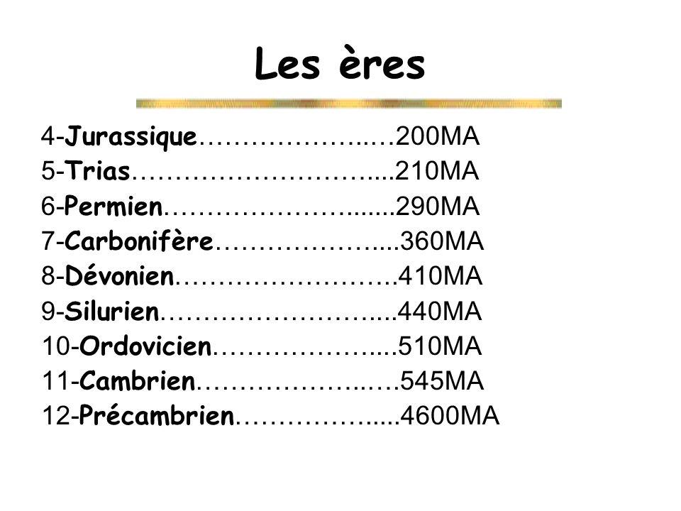 Les ères 4-Jurassique………………..…200MA 5-Trias………………………....210MA