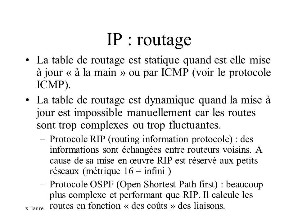 IP : routage La table de routage est statique quand est elle mise à jour « à la main » ou par ICMP (voir le protocole ICMP).
