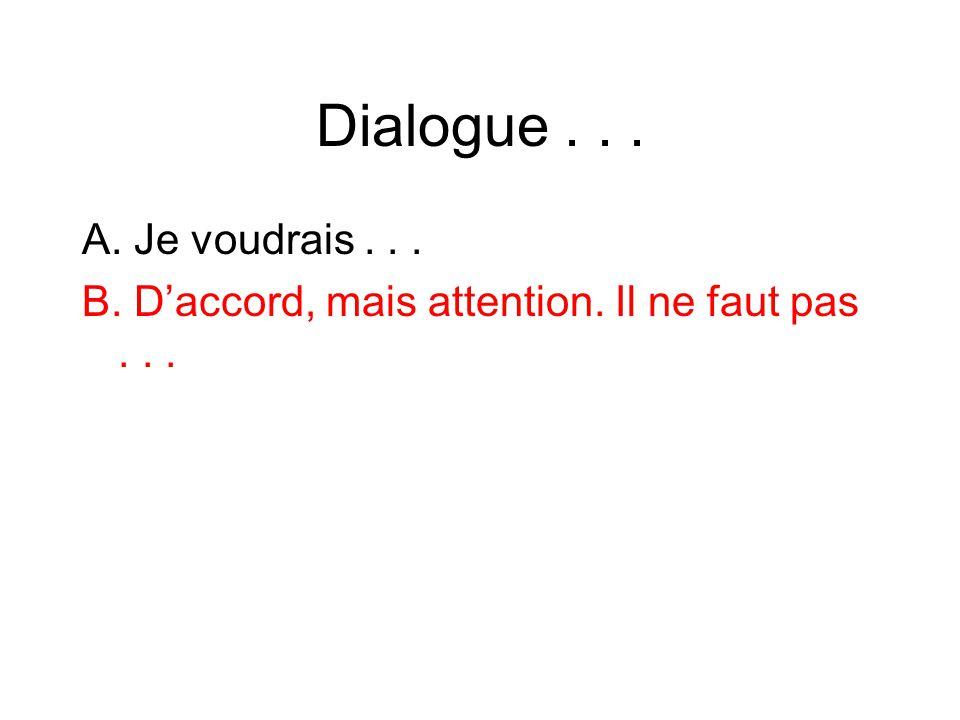 Dialogue . . . A. Je voudrais . . . B. D'accord, mais attention. Il ne faut pas . . .