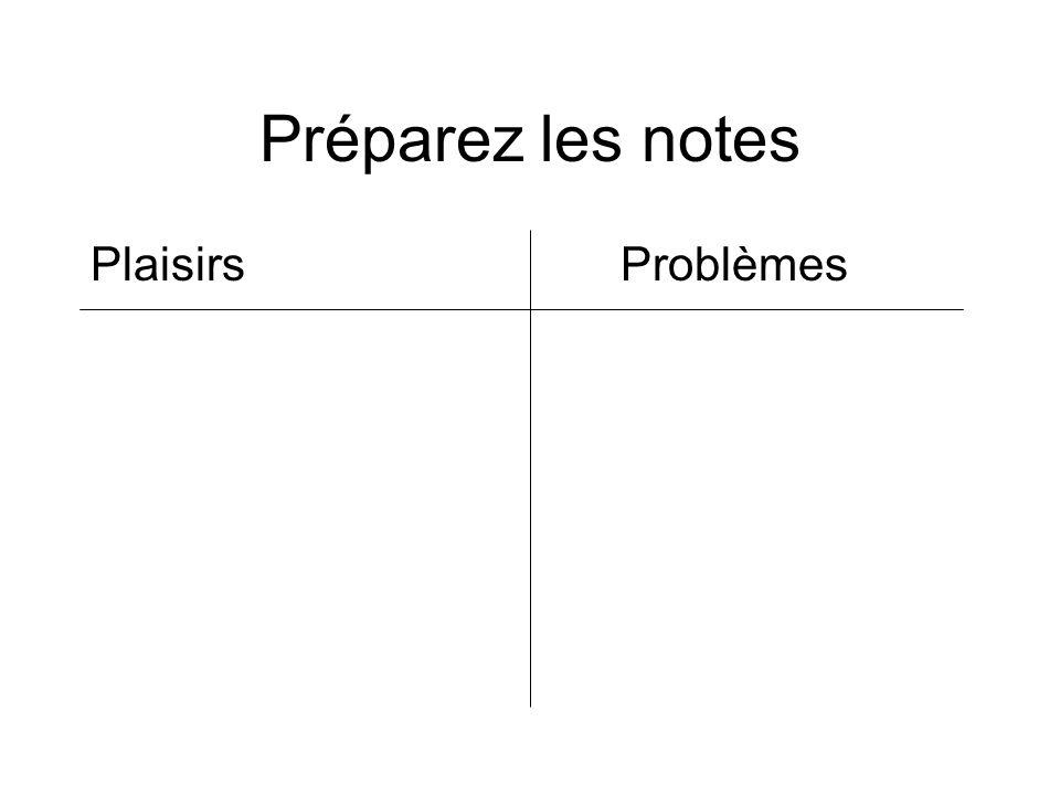 Préparez les notes Plaisirs Problèmes