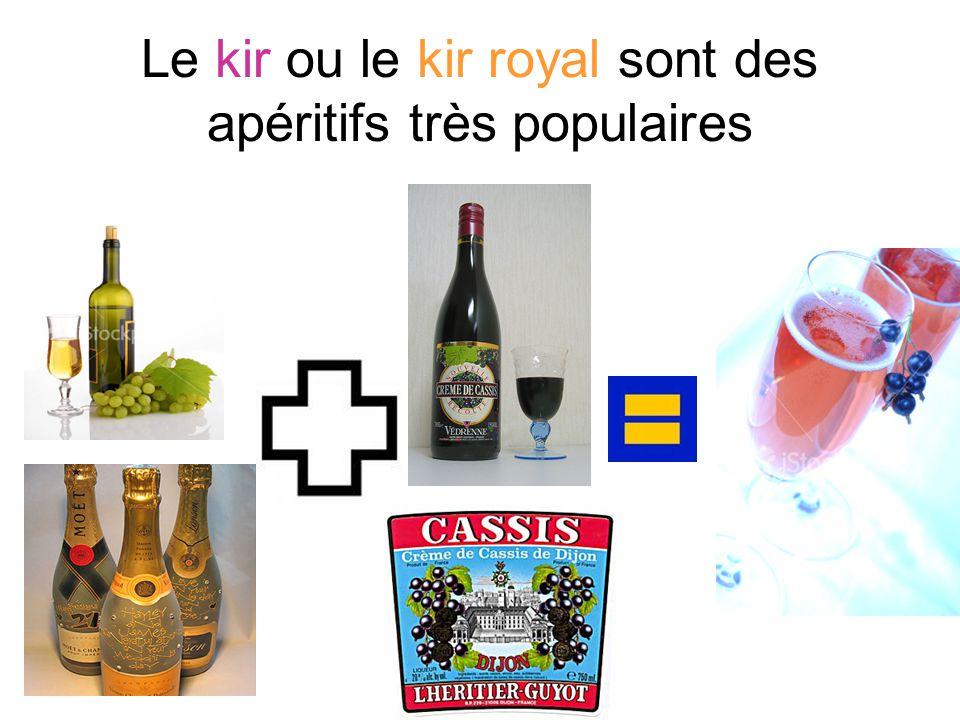 Le kir ou le kir royal sont des apéritifs très populaires