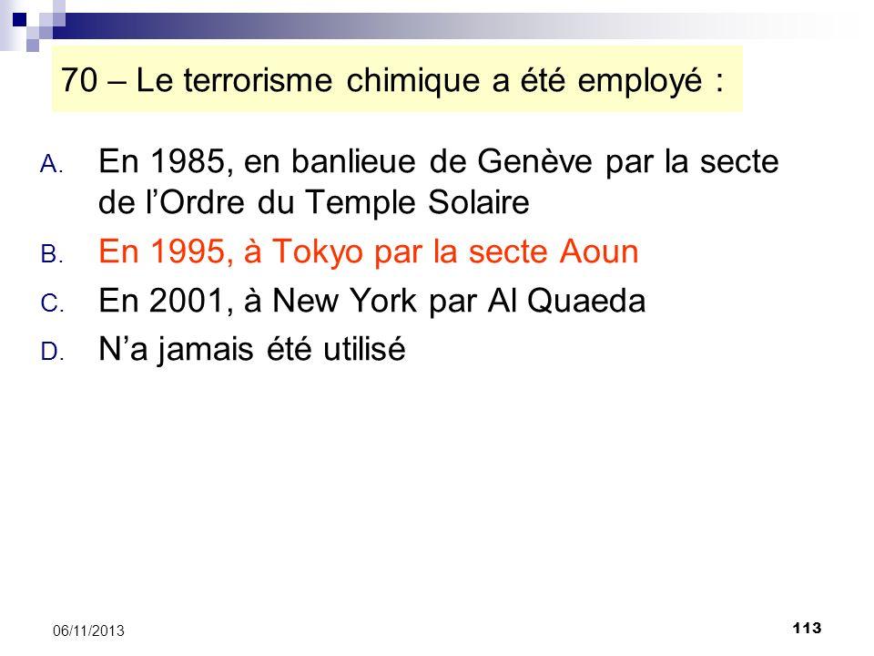 70 – Le terrorisme chimique a été employé :