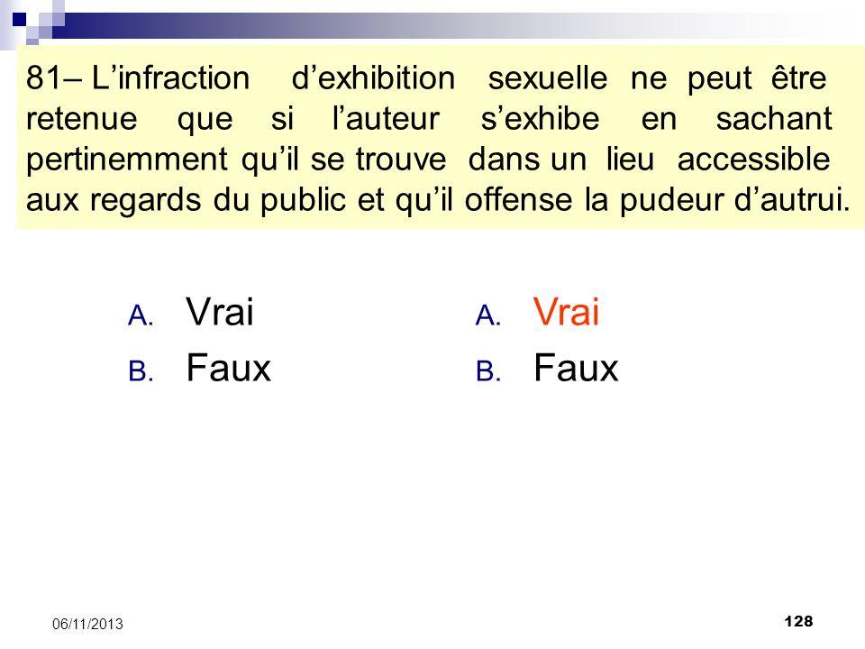 81– L'infraction d'exhibition sexuelle ne peut être retenue que si l'auteur s'exhibe en sachant pertinemment qu'il se trouve dans un lieu accessible aux regards du public et qu'il offense la pudeur d'autrui.