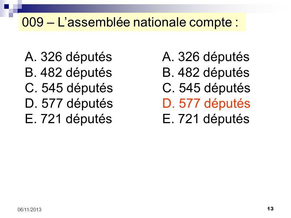 009 – L'assemblée nationale compte :