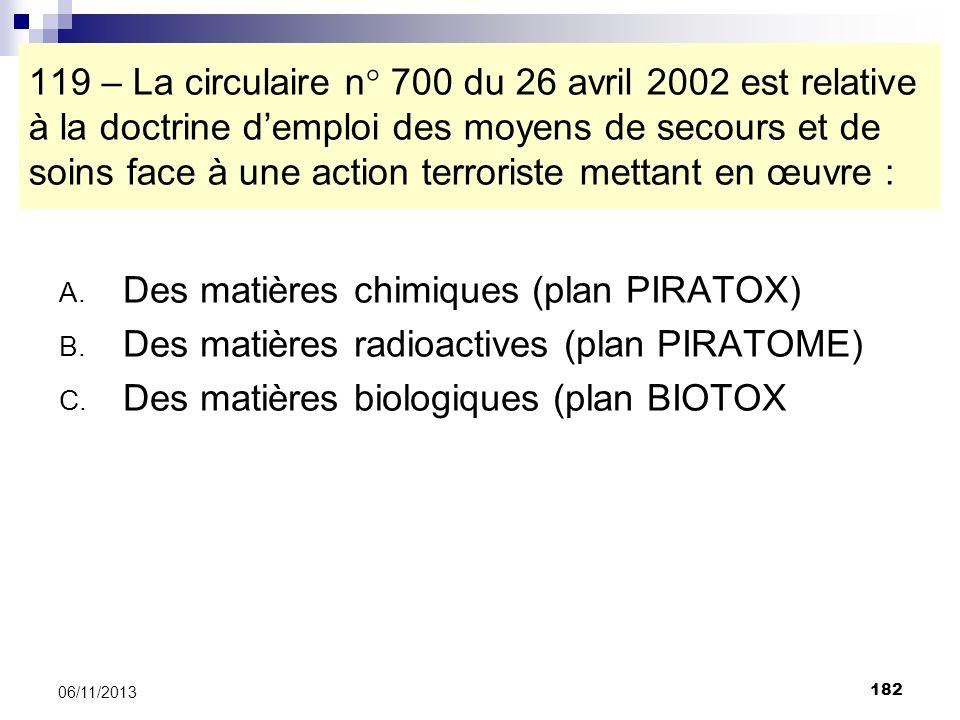 Des matières chimiques (plan PIRATOX)