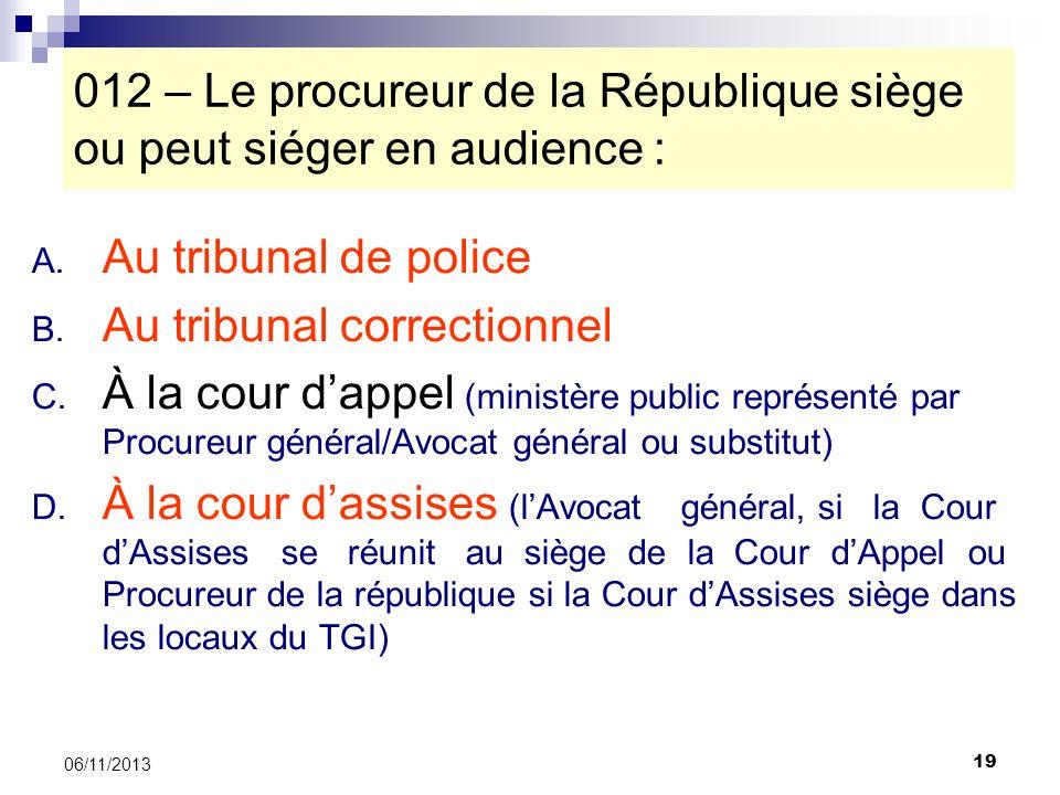 012 – Le procureur de la République siège ou peut siéger en audience :