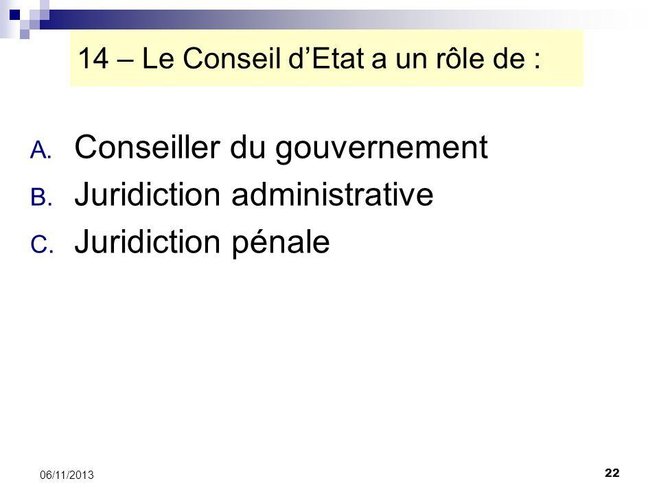14 – Le Conseil d'Etat a un rôle de :