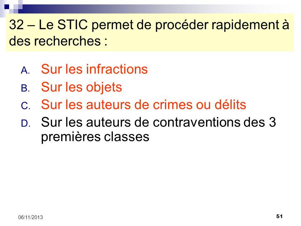 32 – Le STIC permet de procéder rapidement à des recherches :