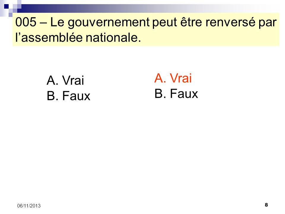 005 – Le gouvernement peut être renversé par l'assemblée nationale.