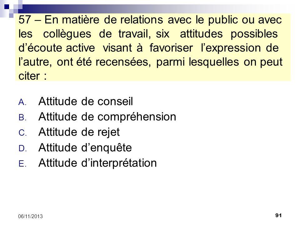 Attitude de compréhension Attitude de rejet Attitude d'enquête