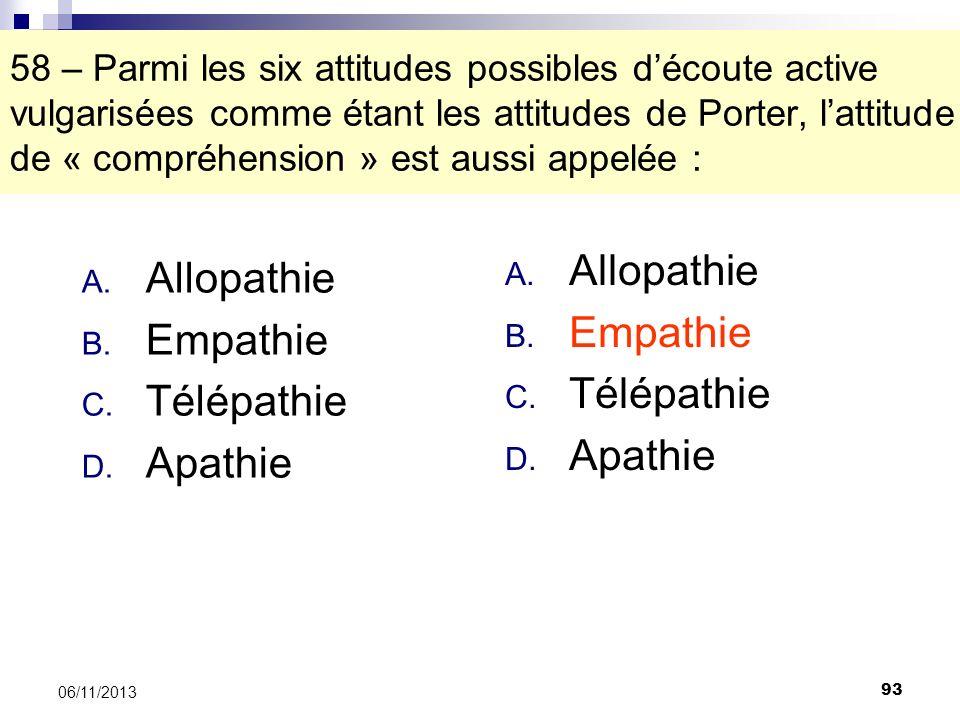 Allopathie Allopathie Empathie Empathie Télépathie Télépathie Apathie