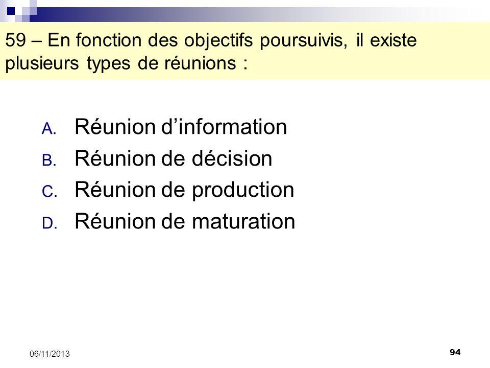 Réunion d'information Réunion de décision Réunion de production