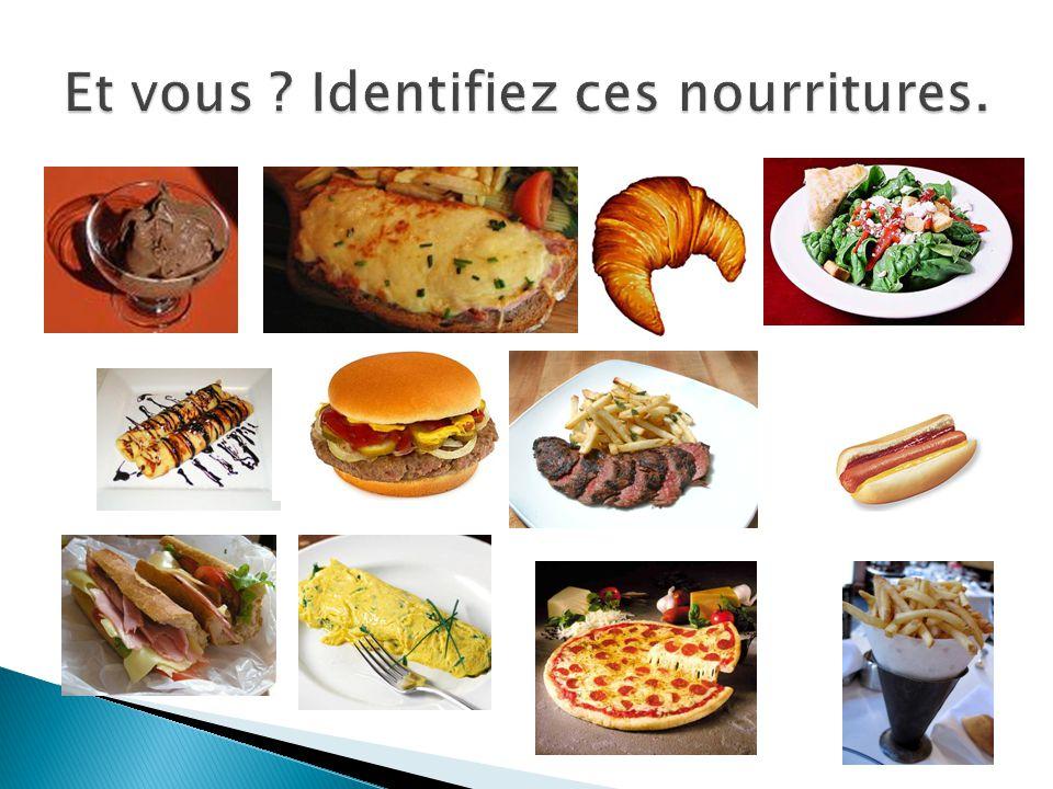 Et vous Identifiez ces nourritures.