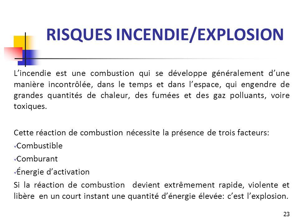 RISQUES INCENDIE/EXPLOSION