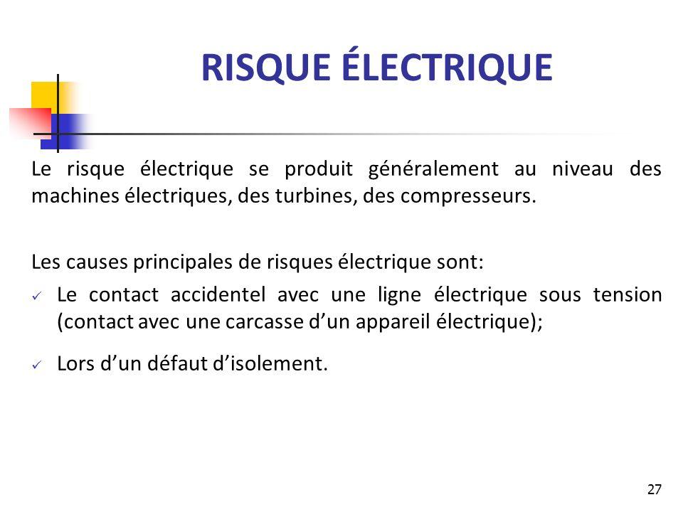RISQUE ÉLECTRIQUE Le risque électrique se produit généralement au niveau des machines électriques, des turbines, des compresseurs.
