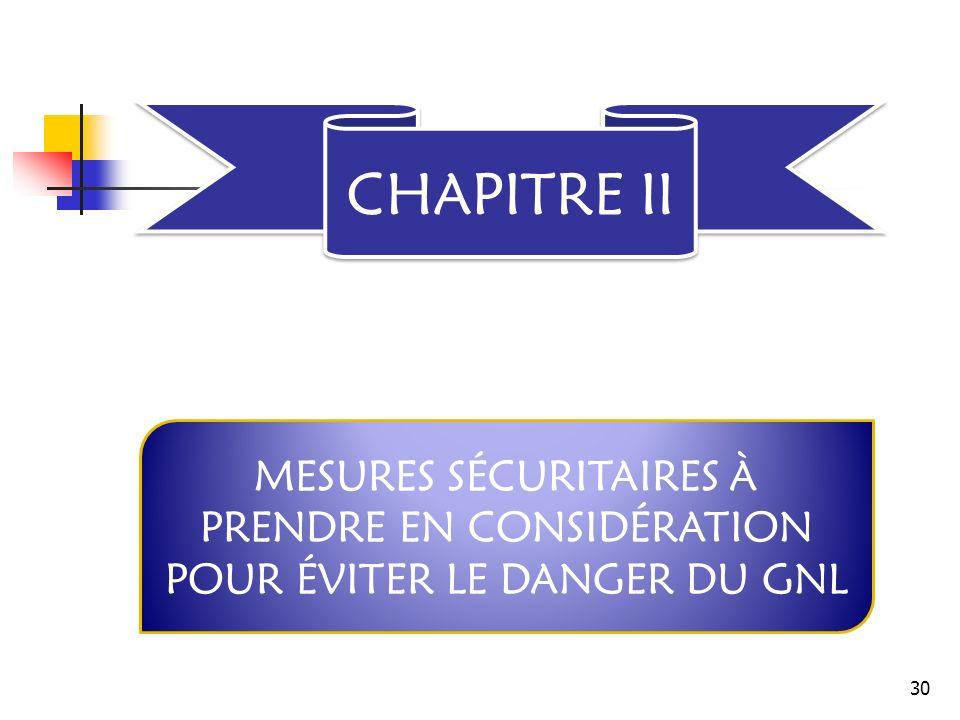 CHAPITRE II MESURES SÉCURITAIRES À PRENDRE EN CONSIDÉRATION POUR ÉVITER LE DANGER DU GNL