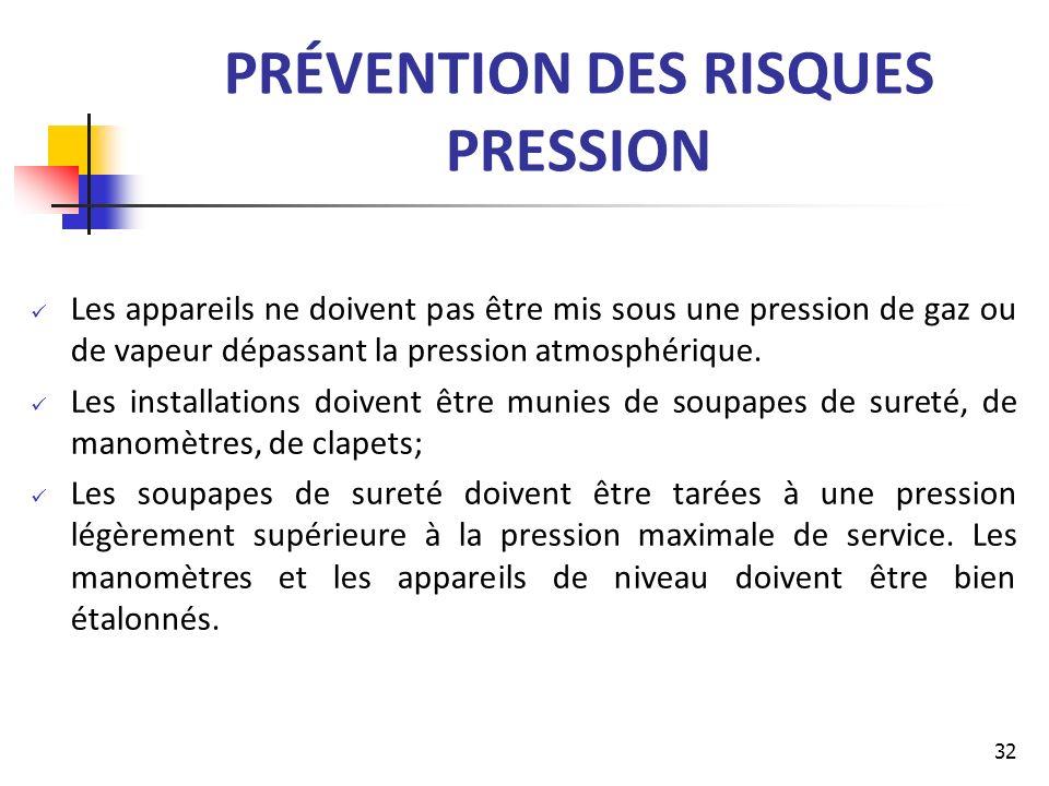 PRÉVENTION DES RISQUES PRESSION