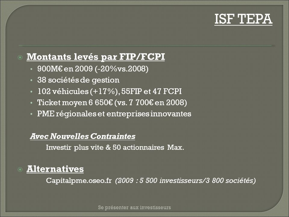 ISF TEPA Montants levés par FIP/FCPI Alternatives