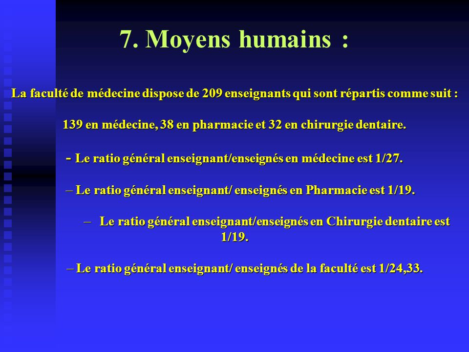 7. Moyens humains :La faculté de médecine dispose de 209 enseignants qui sont répartis comme suit :