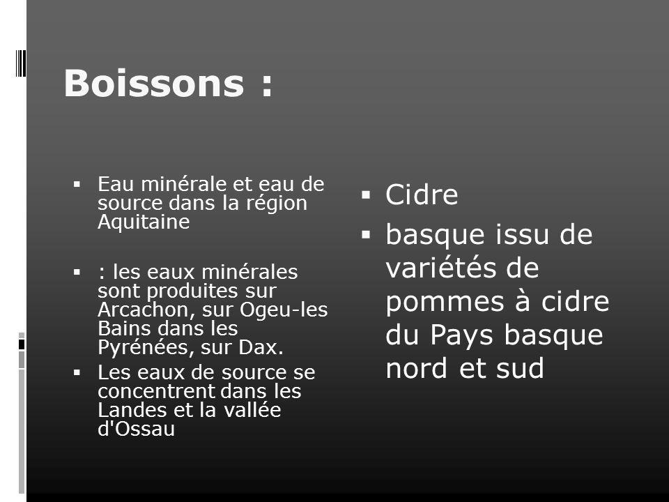 Boissons :Eau minérale et eau de source dans la région Aquitaine.