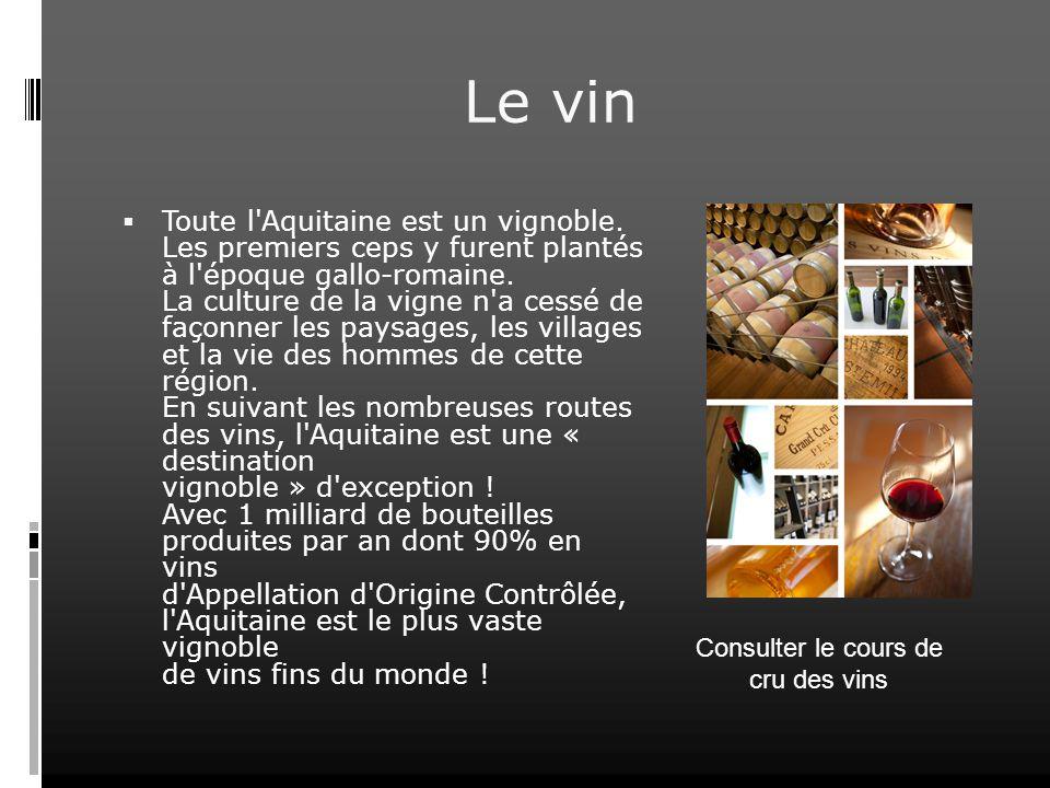 Consulter le cours de cru des vins