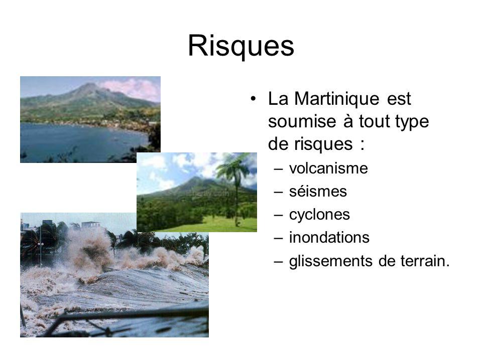 Risques La Martinique est soumise à tout type de risques : volcanisme