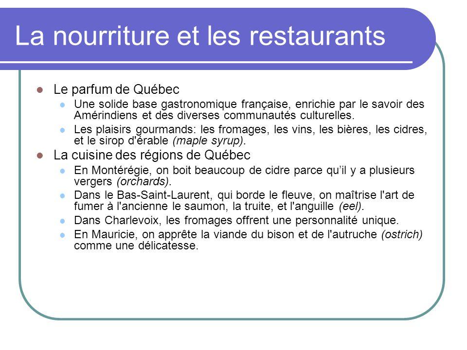 La nourriture et les restaurants