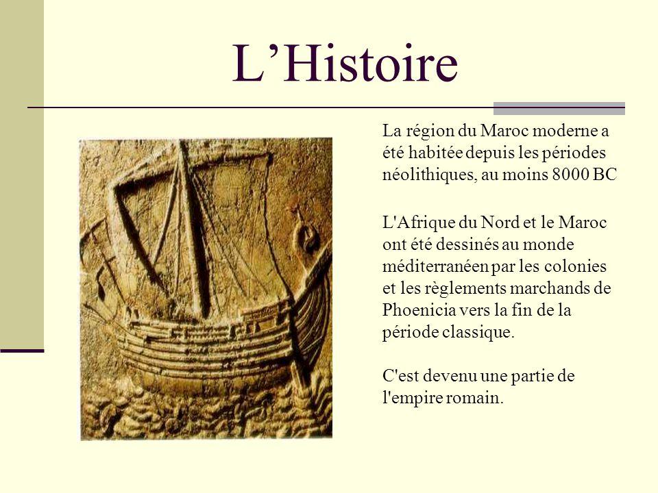 L'Histoire La région du Maroc moderne a été habitée depuis les périodes néolithiques, au moins 8000 BC.