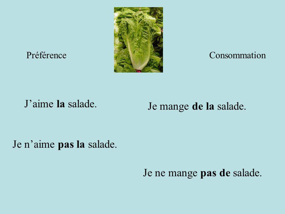Je ne mange pas de salade.