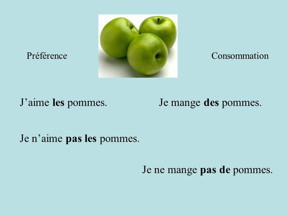 Je n'aime pas les pommes.