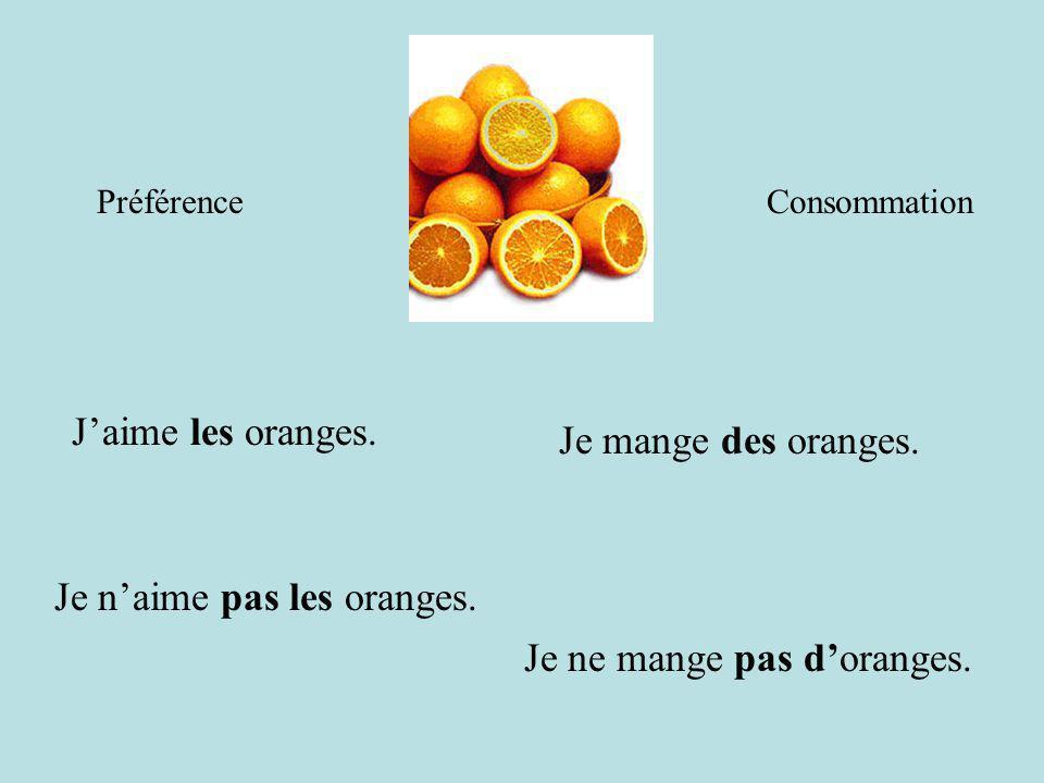 Je n'aime pas les oranges.