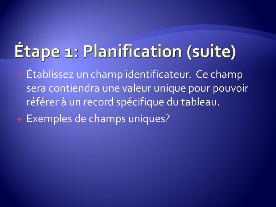 Étape 1: Planification (suite)