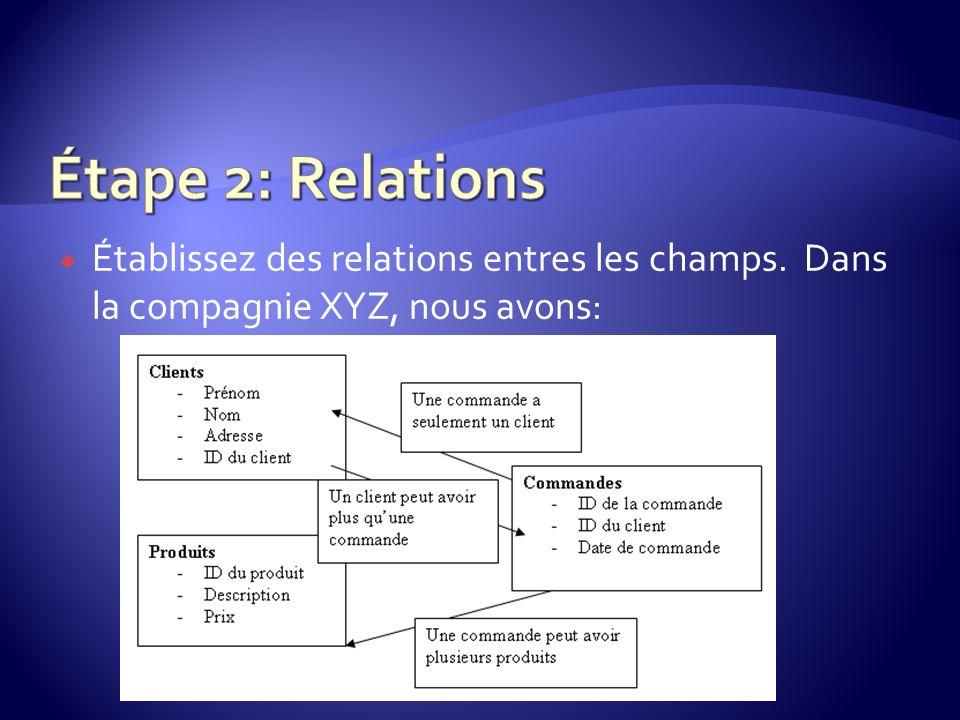 Étape 2: Relations Établissez des relations entres les champs. Dans la compagnie XYZ, nous avons: