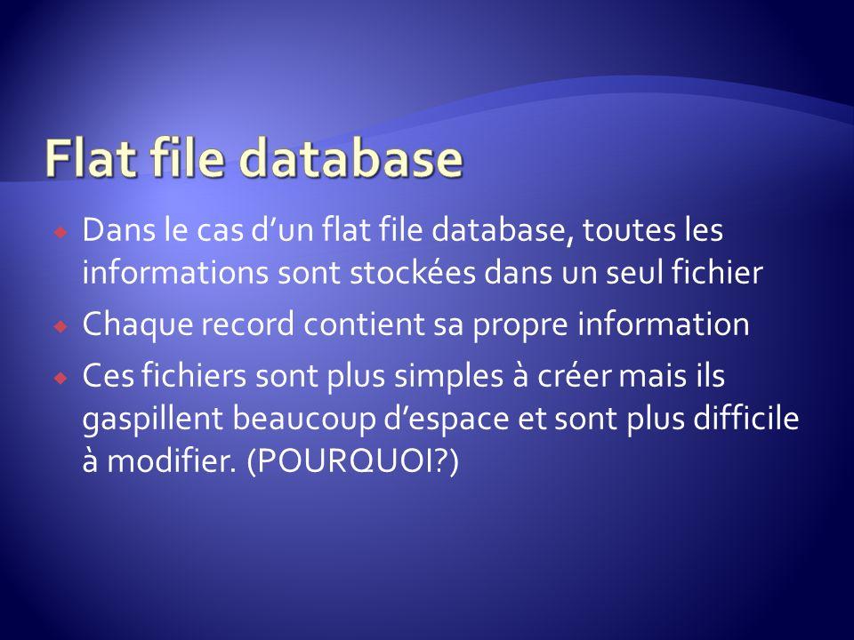 Flat file database Dans le cas d'un flat file database, toutes les informations sont stockées dans un seul fichier.