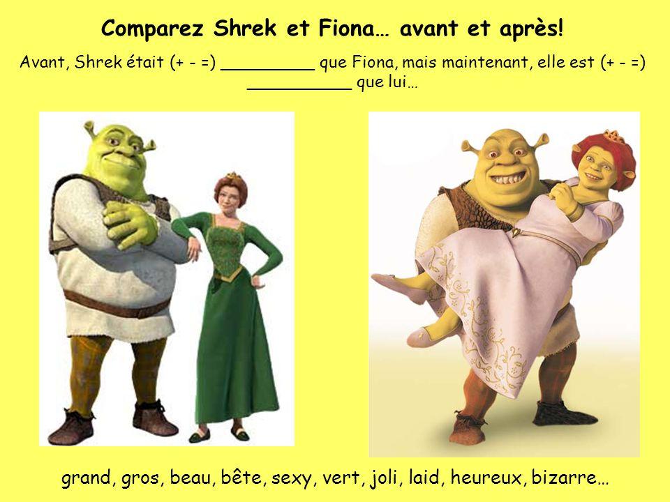 Comparez Shrek et Fiona… avant et après!