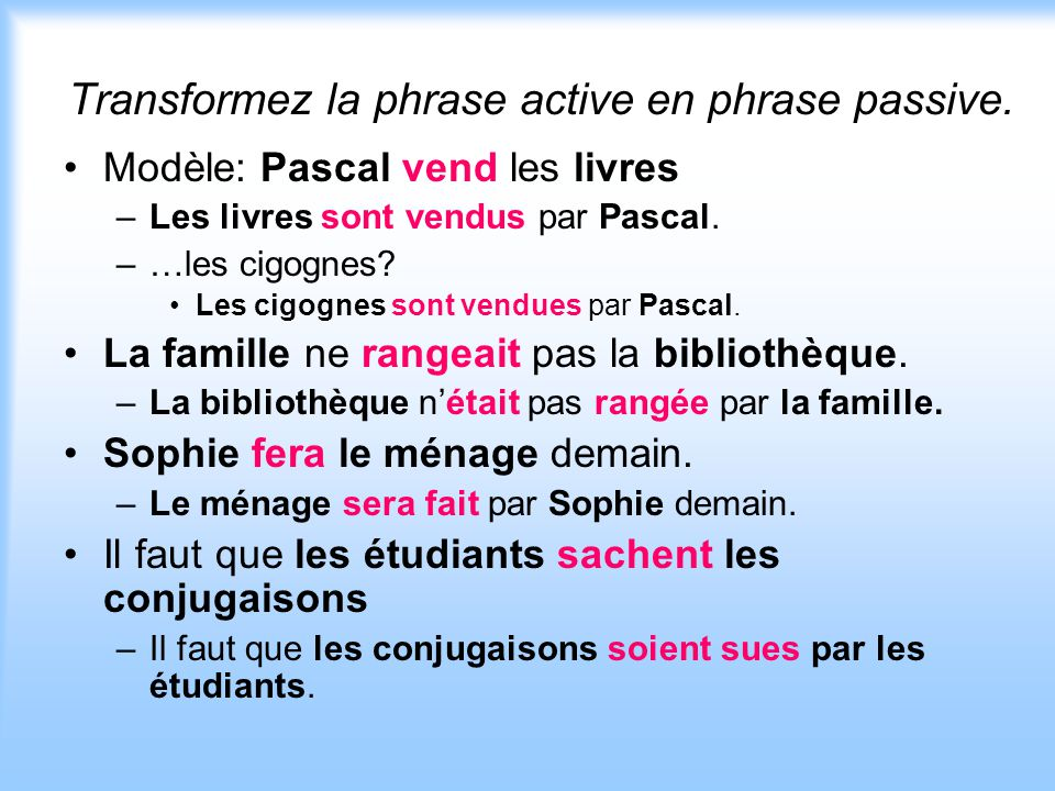 Transformez la phrase active en phrase passive.