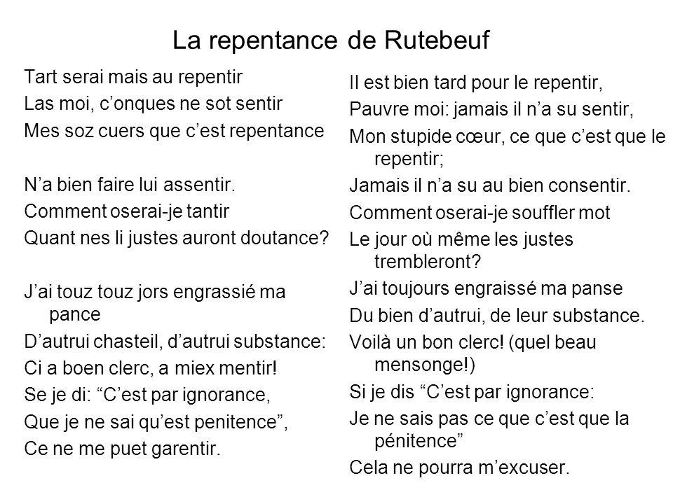 La repentance de Rutebeuf
