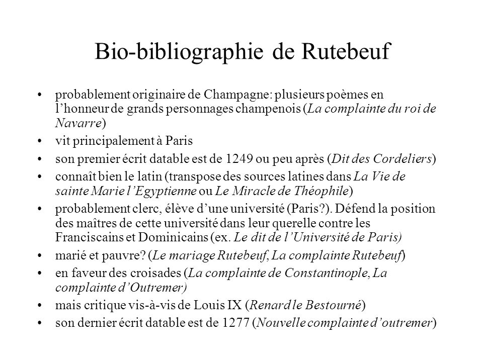 Bio-bibliographie de Rutebeuf