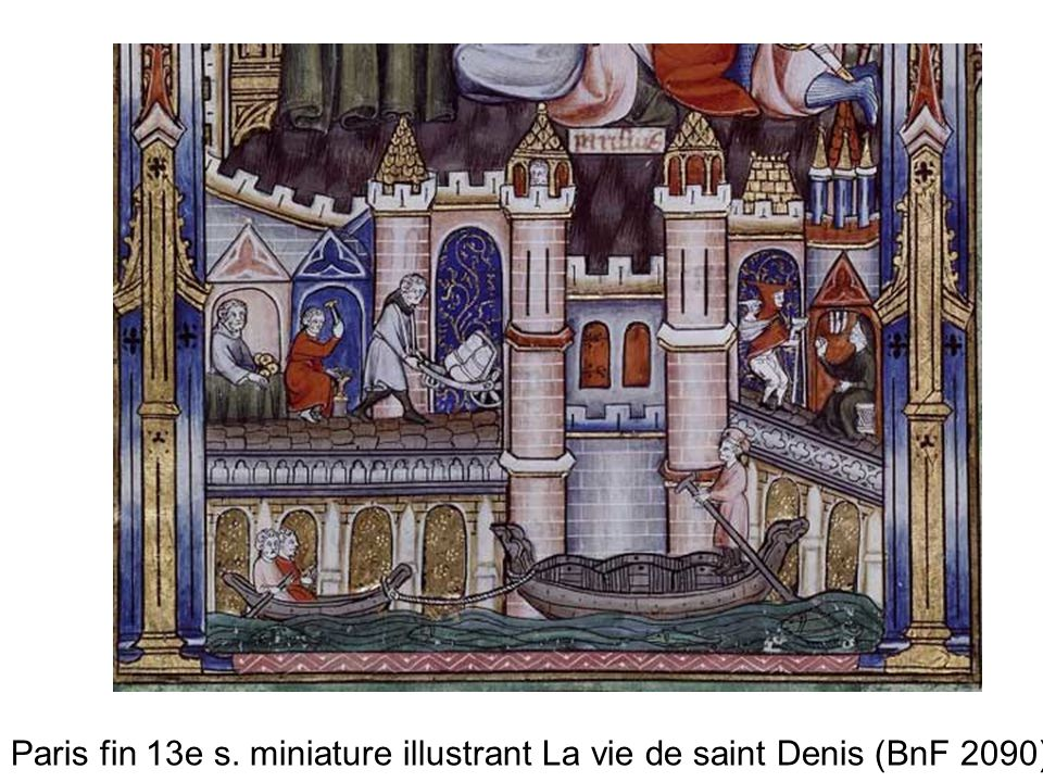 Paris fin 13e s. miniature illustrant La vie de saint Denis (BnF 2090)