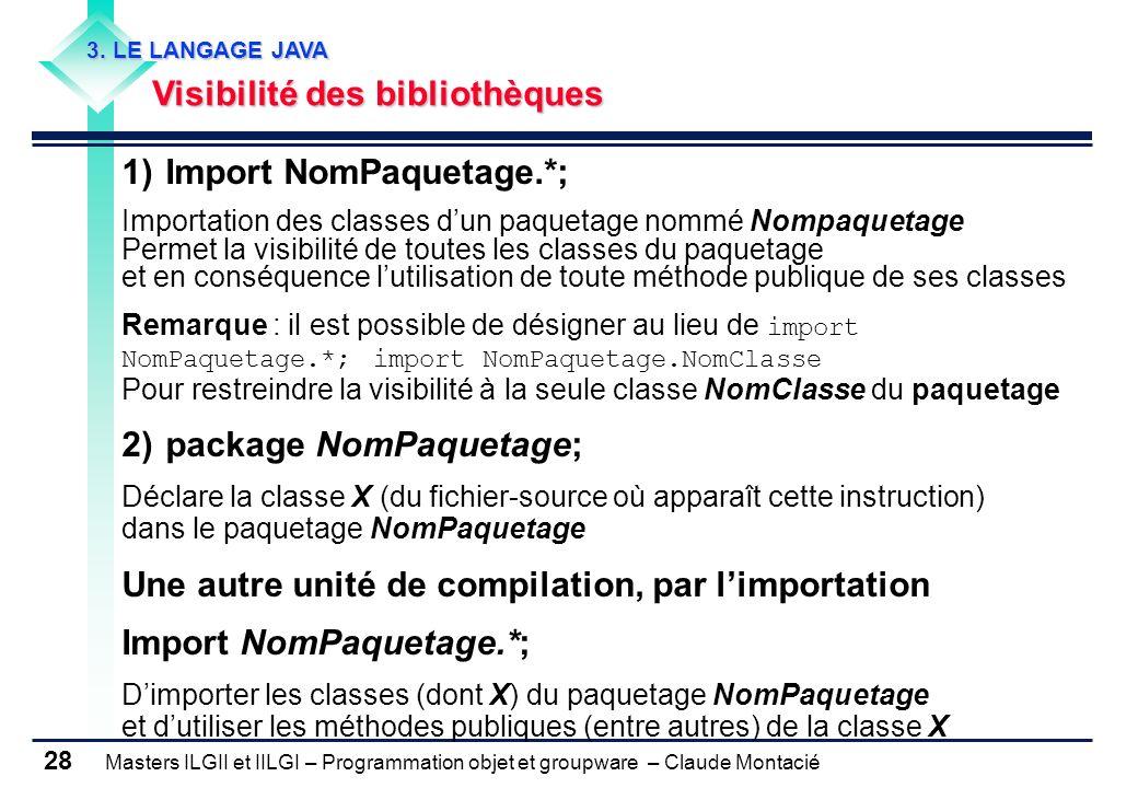 1) Import NomPaquetage.*;