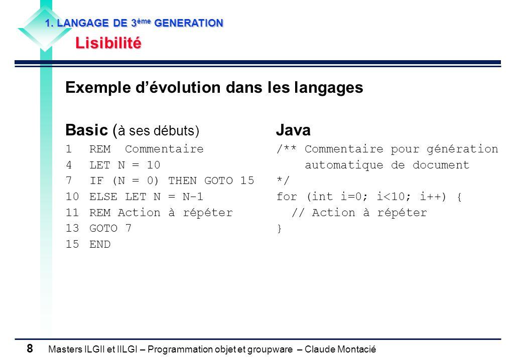 Exemple d'évolution dans les langages Basic (à ses débuts) Java