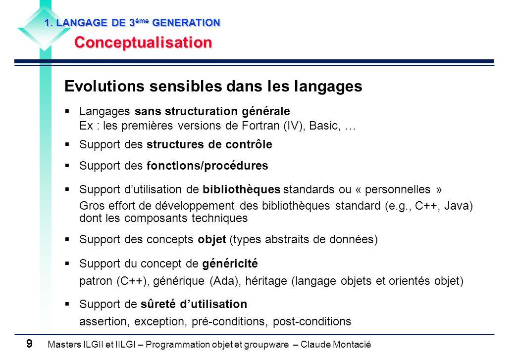 Evolutions sensibles dans les langages