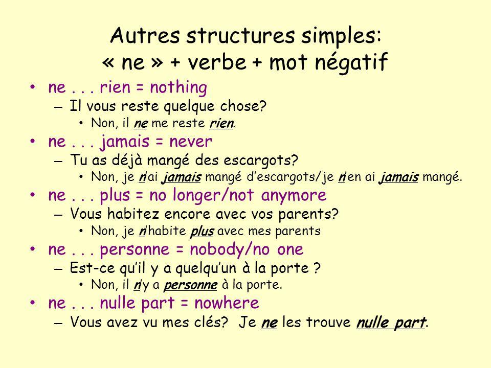 Autres structures simples: « ne » + verbe + mot négatif